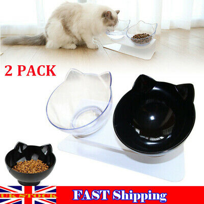 2x Non-slip Pet Feeding Station Dog Cat Food Water Bowl Double Bowl Raised Stand