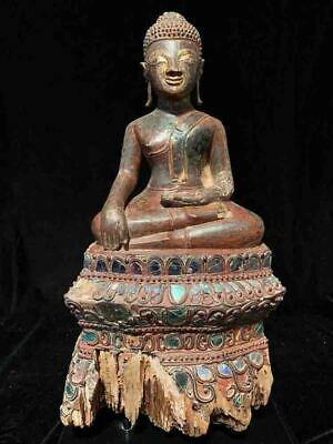 Rare antique wood Thai or Lao Buddha colorful throne iridescent glass 18-19th c