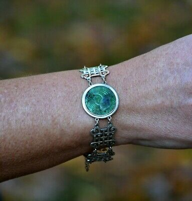 late 1800s/early 1900s Silver Knotwork & Hand Carved Jade Bird Bracelet