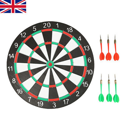 "Large 15"" Dart Board Set Dartboard With 6 Darts Family Party Game Fun"