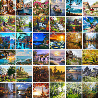 DIY Vavious Natural Scenery Paint By Number Kit Oil Painting Home Art Wall Decor
