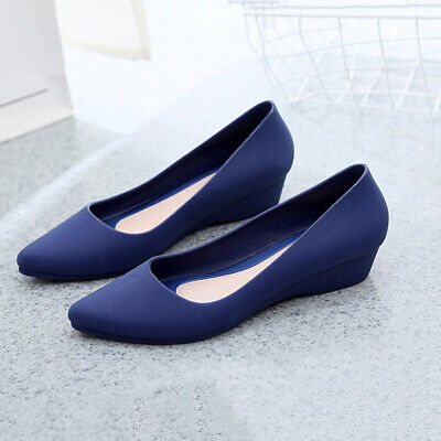 Womens Pointed Toe Office Work Slip On Sandals Non Skid Wedge Heel Comfy Shoes