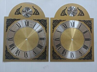2 x Grandfather Clock Brass Face Dial, Tempus Fugit
