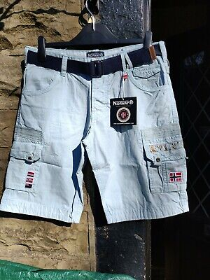 GEOGRAPHICAL NORWAY POLO CLUB  Men's LARGE Belted Shorts Brand New In Sky Blue