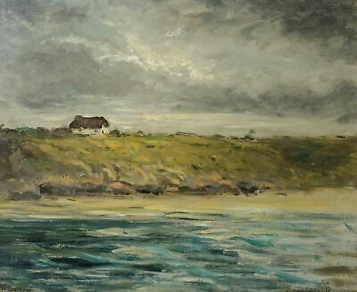Old Oil Painting signed, Landscape, Marine, Sea, Brittany