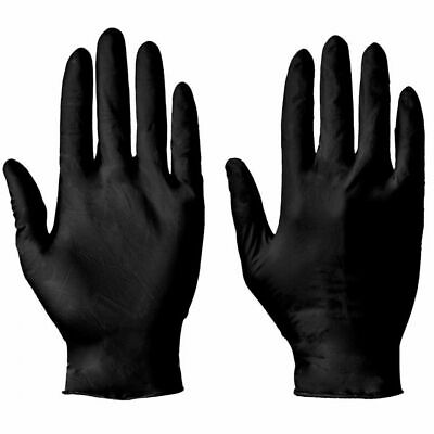 Disposable BLACK nitrile (latex + powder free) medical grade gloves - box of 100