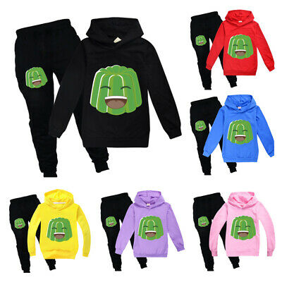 New Kids Boys Girls jelly green 2PCS Tracksuit Casual Hoodies Pants Outfits