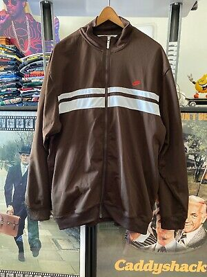 Vtg Nike Track Jacket Mens Xl/Xxl Brown White Running Jogger Suit Top Full Zip