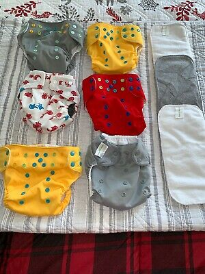 Bumgenius, LalabyeBaby, KaWaii Green Cloth Diaper Lot Of 6 Mixed Preowned NICE
