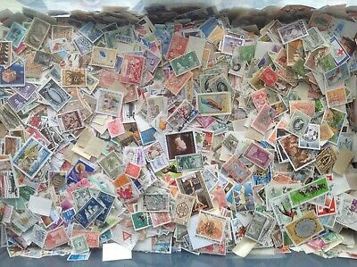 World Kiloware Stamps. Mixed lot of approx. 1,000 + Off Paper 100 grams.