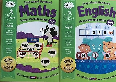 Leap Ahead Maths and English 2 Workbooks for 4-5 Years Old Kids NEW