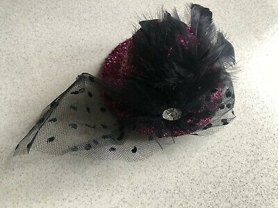 Pink Glitter Fascinator Hat Mesh  Feather Headwear Hat Wedding Prom
