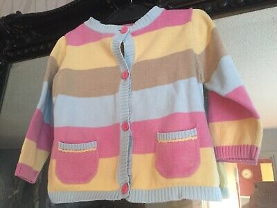 Baby Girls Marks & Spencer Pink/Yellow Cardigan Age 6-9 Months
