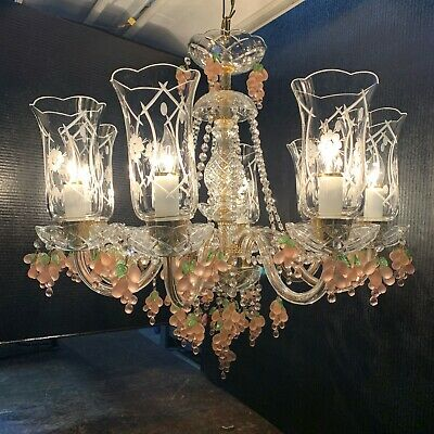 Beautiful Antique 8 Arm Czech Crystal Chandelier, Grape Trimming with Gold Metal