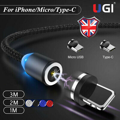UK Magnetic Cord For iPhone Samsung Fast Charging Micro USB Magnet Charger Cable