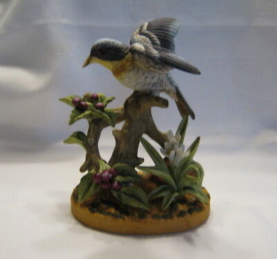 Royal Crown Porcelain Blue Yellow Bird Figurine On Berry Branch Tree Stump ***