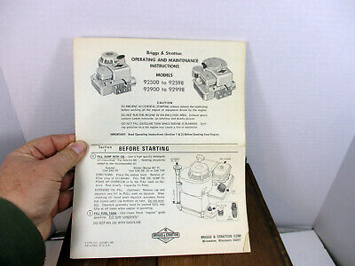 Briggs & Stratton Operating And Maintenance Instructions