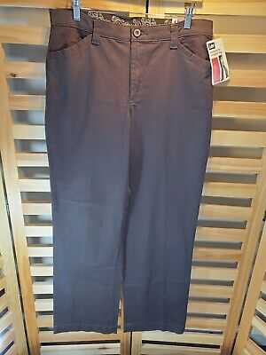 NEW Lee 12 M Brown Dress Pants Relaxed Fit Straight Leg Ladies Stretch At Waist