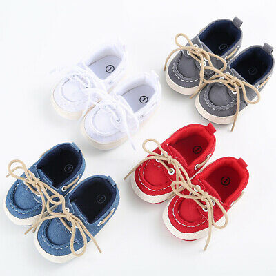 Infant Toddler Baby Boy Girl Soft Sole Crib Canvas Shoes Sneaker Anti-Slip