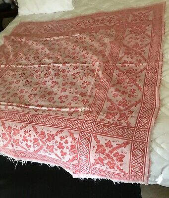 """Antique Turkey Red Ivy Floral Tablecloth 56"""" x59"""""""