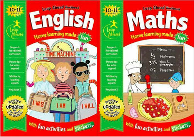 LEAP AHEAD WORKBOOKS Set Ages10-11 KS2 ENGLISH AND MATHS __ YEAR 6  __ BRAND NEW