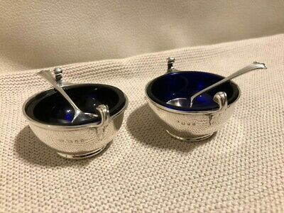2 Rare Salt Cellars Solid Silver Bowls With Spoons London 1920