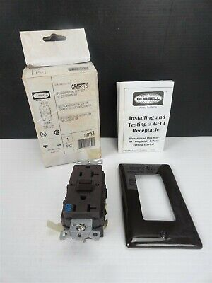 Hubbell - GFWRST20 Receptacle - BROWN, 20AMP, 125V, 2 POLE, 3 WIRE GROUND (NEW)
