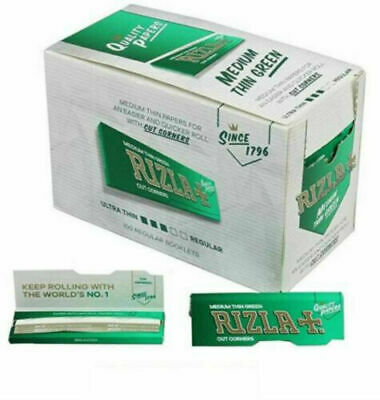 RIZLA GREEN Rolling Papers Booklets 6x Packs (300 leaves) Medium Regular