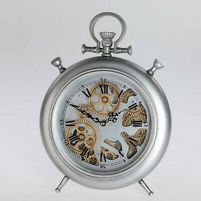 Table Clock, Floor Clock Move with Gears H.37,5cm Antique Silver Metal Formano