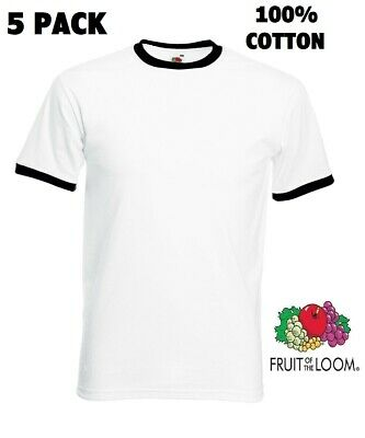 5 PACK FRUIT OF THE LOOM WHITE MENS RINGER COTTON T-SHIRTS WHOLESALE S-XL New