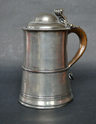 Dated 1727 Georgian Sheffield Plate Covered Tankard