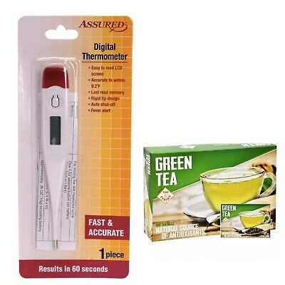 Oral Digital thermometer for Adult kid infant Body +100 Free Pure Green Tea bag