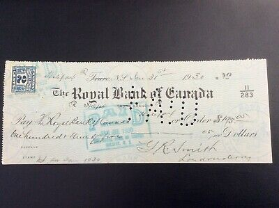The Royal Bank of Canada, cancelled cheque Halifax, N.S. branch, Jan 31, 1930