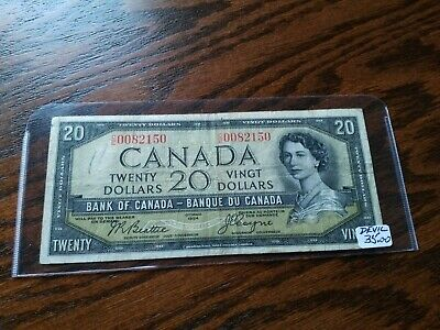 Circulated 1954 Canadian $20 Devil's Face Bank Note, No Reserve!