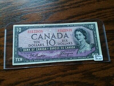 Circulated 1954 Canadian $10 Devil's Face Bank Note, No Reserve!