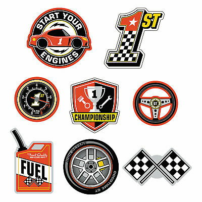1St Birthday Race Car Wall Cut Outs - 8 Pieces