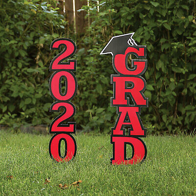 Red Class Of 2020 Yard Stake - 2 Pieces