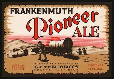 Vintage label FRANKENMUTH PIONEER ALE beer Geyer Bros Michigan IRTP unused nrmt+