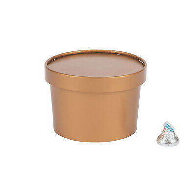 COPPER ROUND FAVOR BOX W/LID - 12 pieces