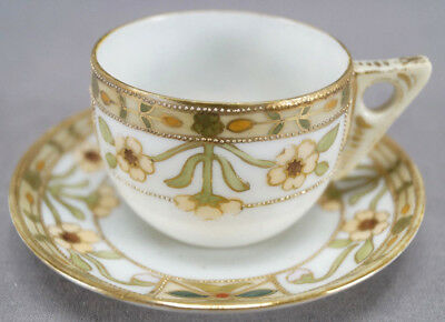 IE & Co Nippon Hand Painted Art Deco Flowers & Moriage Demitasse Cup & Saucer