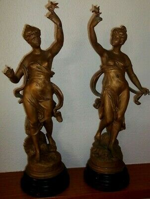 Pair of Antique Spelter Figures , after Anatole J Guillot 1865 - 1911
