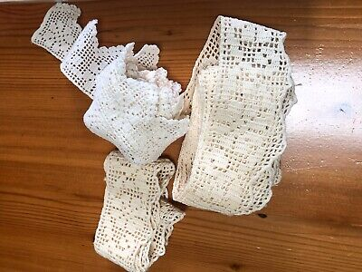 Lot Of Antique Vintage Homemade Crochet Lace Craft Edging Cream And White