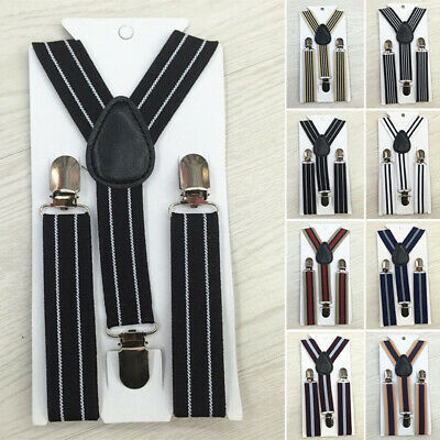 Kid Boys Retro Vintage Suspenders 3 Button Holes Adjustable Stretchy Strap Belts