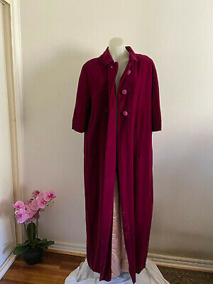 ILGWU Vintage House coat dress robe velvet Floor Length warm Magenta
