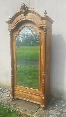 Antique French Armoire, Louis XVI, Pretty 19th Century Oak with Bevelled Mirror