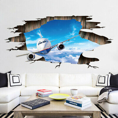 3D Broken Airplane  Wall Stickers Blue Sky White Clouds PVC Vinyl Wall Art Decor