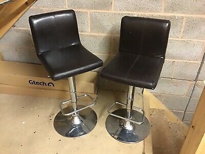 Kitchen Bar Stools Pair in brown leather style
