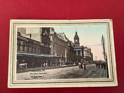 Vintage Post Card Swanston Street Melbourne showing Town Hall collectable