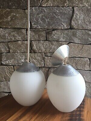 2x retro vintage opaline Mid Century pendant light matte white glass shades
