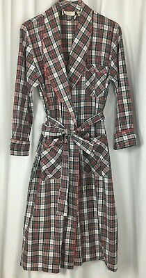 Vtg Victorias Secret Plaid Bathrobe 100% Cotton Gold Label Size P/S Hong Kong VS
